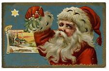 PERE NOËL.CHRISTMAS SANTA CLAUS. CARTE GAUFRéE. EMBOSSED CARD.DORURE. GILDING
