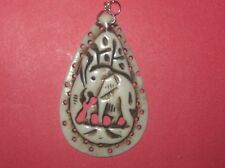 LARGE 50MM HAND CARVED CAMEL BONE AFRICAN ELEPHANT PENDANT CHARM NECKLACE