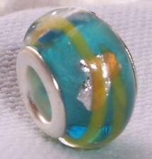 Aqua Blue Yellow Foil Murano Glass Bead for Silver European Charm Slide Bracelet
