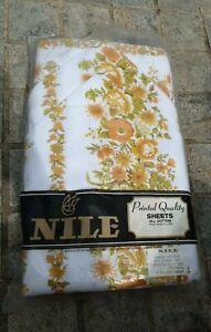 Brand New Vintage Nile Floral Flat Sheet Set 100% Cotton 70's queen Size retro