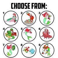 "63 Little Mermaid Ariel Christmas Envelope Seals / Labels / Stickers - 1"" Round"
