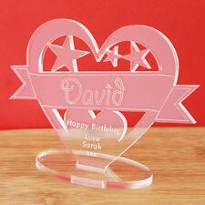 Personalised Name Heart Banner Ornament Keepsake Birthday Congratulations Gift