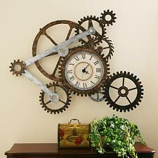 Mechanical Wall Clock Steam Punk Industrial Gears Wall Art Home Decor Display