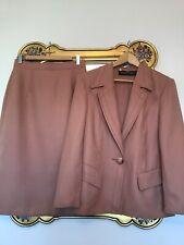 Vintage LOUIS FERAUD Salmon 100% New Wool SKIRT & JACKET Suit SIZE 12/ 14