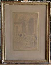 Charles Henri PILLE, dessin à la plume, scène de bal au XVIII°.
