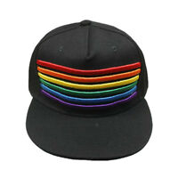 Proud Pride Parade Rainbow Flag Adjustable hat Fitted Snapback Cap 3D Black