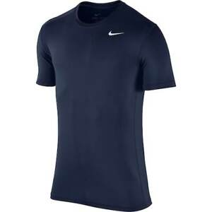 NIKE Mens Dri-FIT Base Layer Fitted Cool Top ** OBSIDIAN/WHITE - Small ** NWT