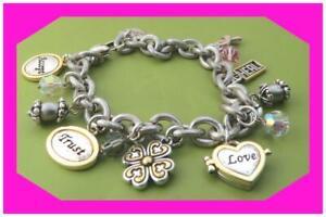 BRIGHTON POWER OF PINK 2 Charm 2006 Love Trust Heal Silver BRACELET Preloved