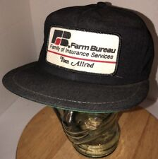 VTG FARM BUREAU Tom Allred 80s USA K-Products Black Hat Cap Snapback Insurance