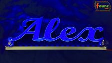"LED LKW Trucker Leuchtschild Namensschild ""Alex"" oder Wunschname 12/24V blau"