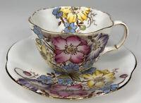 Antique Taylor & Kent Teacup & Saucer Pink Blue Yellow Flowers Longton England