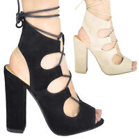 LADIES WOMENS NEW LACE UP BLOCK HIGH HEELS SANDALS ANKLE HI PLATFORMS SHOES SIZE