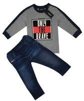 NEW DIESEL Kids RRP 105 AGE 12 MONTHS Baby Designer Set Jeans Tshirt Top B307