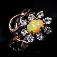 Opal Ring Silver 925 Sterling Beauty Rainbow6x5mm Size 7.75 /R128661