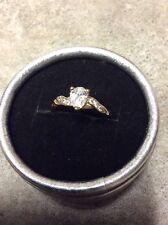 Beautiful Dainty Womens 18k Yellow Gold Simulated Diamond Ring 5 Birthday Gift
