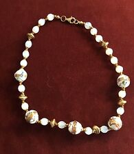 VINTAGE MURANO NECKLACE - WEDDING CAKE and OPAQUE BEADS - ORIGINAL FINDINGS