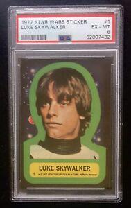 1977 Topps Star Wars Luke Skywalker Sticker PSA 6 Rookie RC #1 TOUGH 1st Series