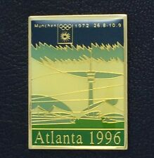 Olympic Pin Badge~Poster Pin~Munich, West Germany 1972~1996 Atlanta~NEW on CARD
