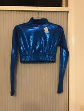 Alleson cheerleading Blue midriff size M Women's long sleeve Ships N 24h