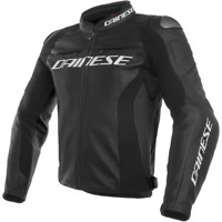 DAINESE RACING 3 PERF. LEATHER MOTORCYCLE JACKET BLACK BLACK BLACK - NEW!