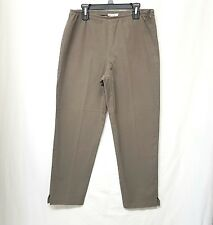 EILEEN FISHER Sz XS KHAKI STRETCH COTTON ANKLE LENGTH PANTS IN GREAT CONDITION