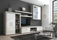 parete attrezzata CANBERRA bianco cemento sala da pranzo soggiorno moderna