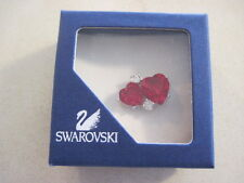 Swarovski Signed Silver tone double red crystal HEART Tack Tac Lapel Pin Box 341