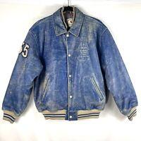 Vintage 80s Guess Leather Jacket Medium Wild Indians CA Blue Denim Dye Snap RARE