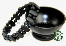 Authentic natural black stone double row oval jade bracelet health man gift