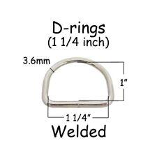 """10 Dee Rings - 1.25 Inch (1 1/4"""" - 32mm) Welded Nickel Plated Steel 7 gauge"""