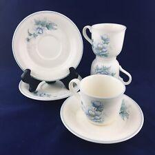 3 NORITAKE Keltocraft Peonytime Ireland 9100 Blue Flowers Coffee Tea Cup Saucers
