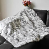 Real Rabbit Fur Throw Genuine Fur Blanket Quilt Plaid Made With Rabbit Pelt Rug