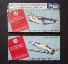 2 vintage PECO candy cigarettes U.S. NAVY card #17 & 24, Pecheur Lozenge Co.