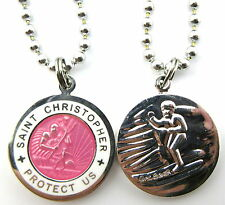 Saint Christopher Surf Medal Protector of Travel pi-wh Royal Pink-White Medium