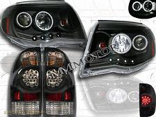 Toyota Tacoma 2005-08 Black 2X CCFL Halo LED Headlights + LED Tail Lights Black