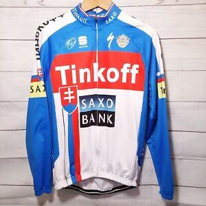 Tinkoff Saxo Bank Long Sleeve White Cycling Jersey Men M Full Zip Pockets 421F