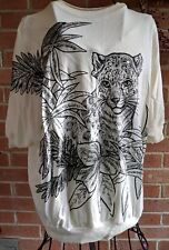 Vtg 80s Glitter Cats Leopard White Sporty Casual Pullover Shirt L East River USA