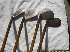 WILSON RAINBOW FACED WALKER CUP ANTIQUE VINTAGE WOOD SHAFTED GOLF IRONS
