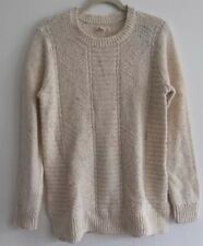 Hollister Women Sweater Cream Blue Lace Long Sleeve Cable Knit Large