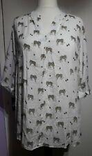 River Island White Tiger Print Blouse Top Size 16 UK Open Back