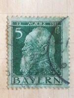 N°304 Timbres Bavière Bayern 1911 Prince Leopold oblitéré avec charnière BE vert