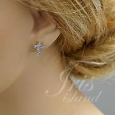 Cubic Zirconia 925 Sterling Silver Cross Stud Earrings With Micro Pave 02957