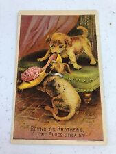Antique Reynolds Brothers Fine Shoes Utica, NY Dogs Chewing Shoe Trade Card Ad