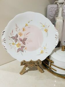 Vintage Queen Anne 'Jasmine' cake plate with tabs  Pink/yellow