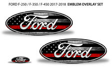 Oval Badge Emblem Overlay Decals For Ford F-250 F-350 F-450 2017-2018 RED LINE