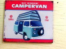 VW small Fridge magnet-1968 Bay window type 2 camper van -Dormobile roof 1600 cc