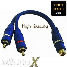 Premium GOLD Cable Adapter RCA 1x RCA female socket to 2x RCA male plugs Phono