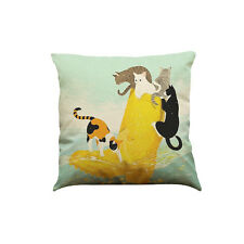 Retro Cute Cat Sofa Bed Home Decoration Festival Pillow Case Cushion Cover Throw Five Cats & Beer