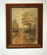vintage color lithograph country road Ullman Mfg frame glass Swinburne 1910s