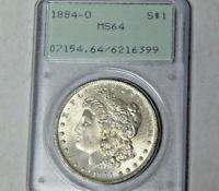 PCGS MS64 1884-O Morgan Silver Dollar New Orleans 1st Generation Rattler Holder